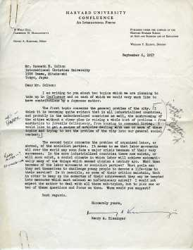 An original, signed letter from Henry Kissinger to Kenneth Colton (Control No. KC-183-004).
