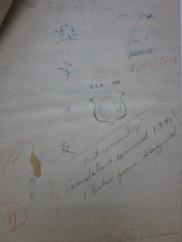 """ZT-03: Front cover of manuscript. """"Post censorship Translation examined 1-9-46 1 """"haiku"""" poem disapproved"""""""