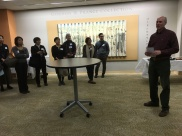Douglas McElrath, Director of Special Collections and the University Archives, made a welcoming remark at the Prange Collection lobby.