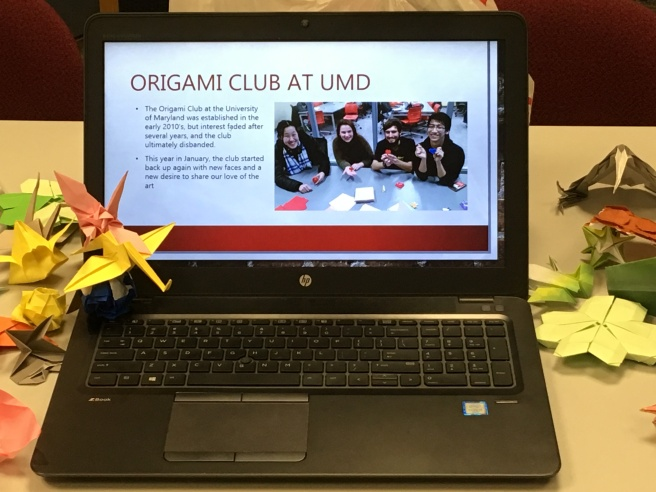 The University of Maryland Origami Club brought a slide show and examples of their work.